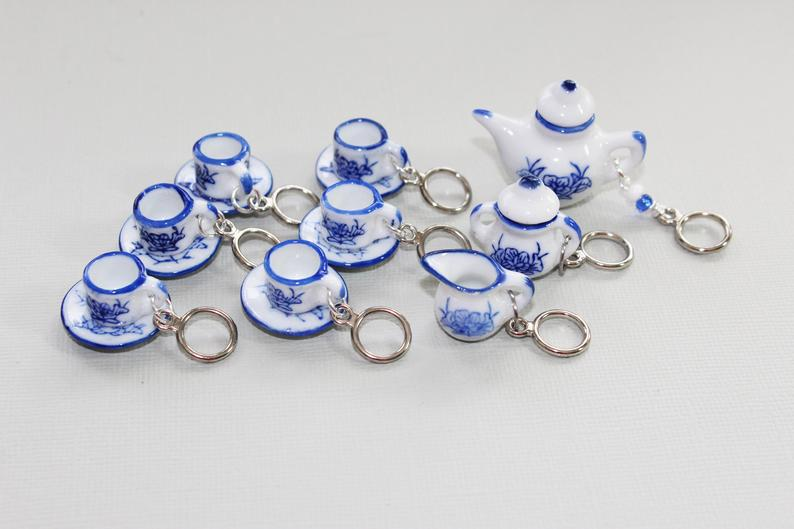 Tiny Blue and White China Tea Set Non-Snag Stitch Markers