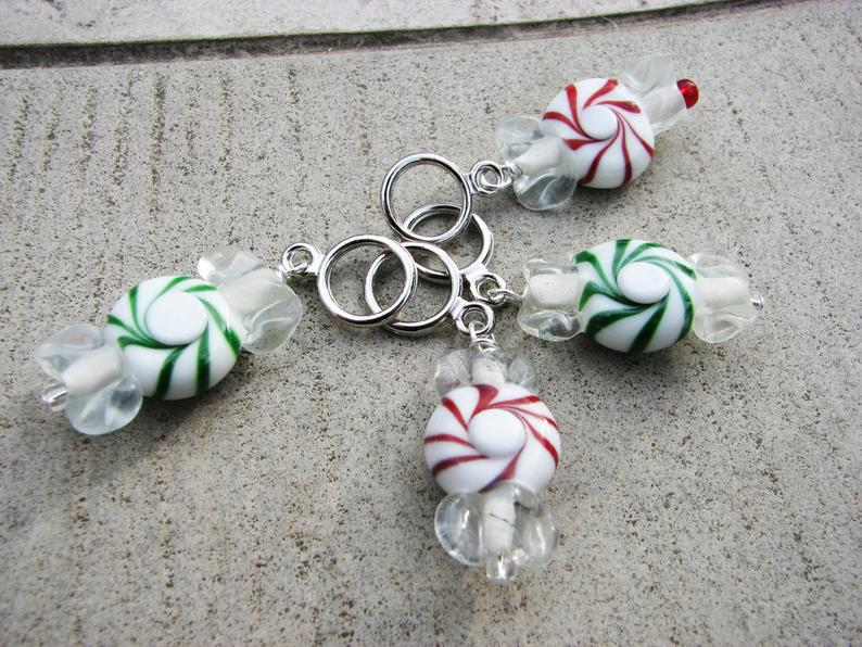 Peppermint Candy Stitch Markers Set