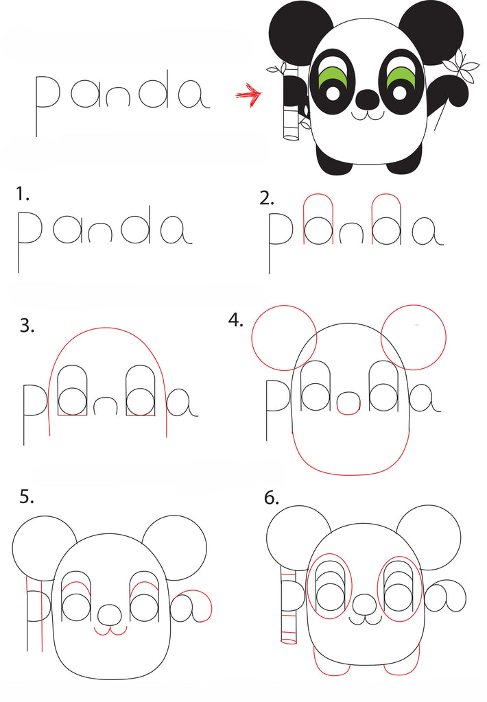 PANDA KAWAII DRAWING STEP BY STEP 1