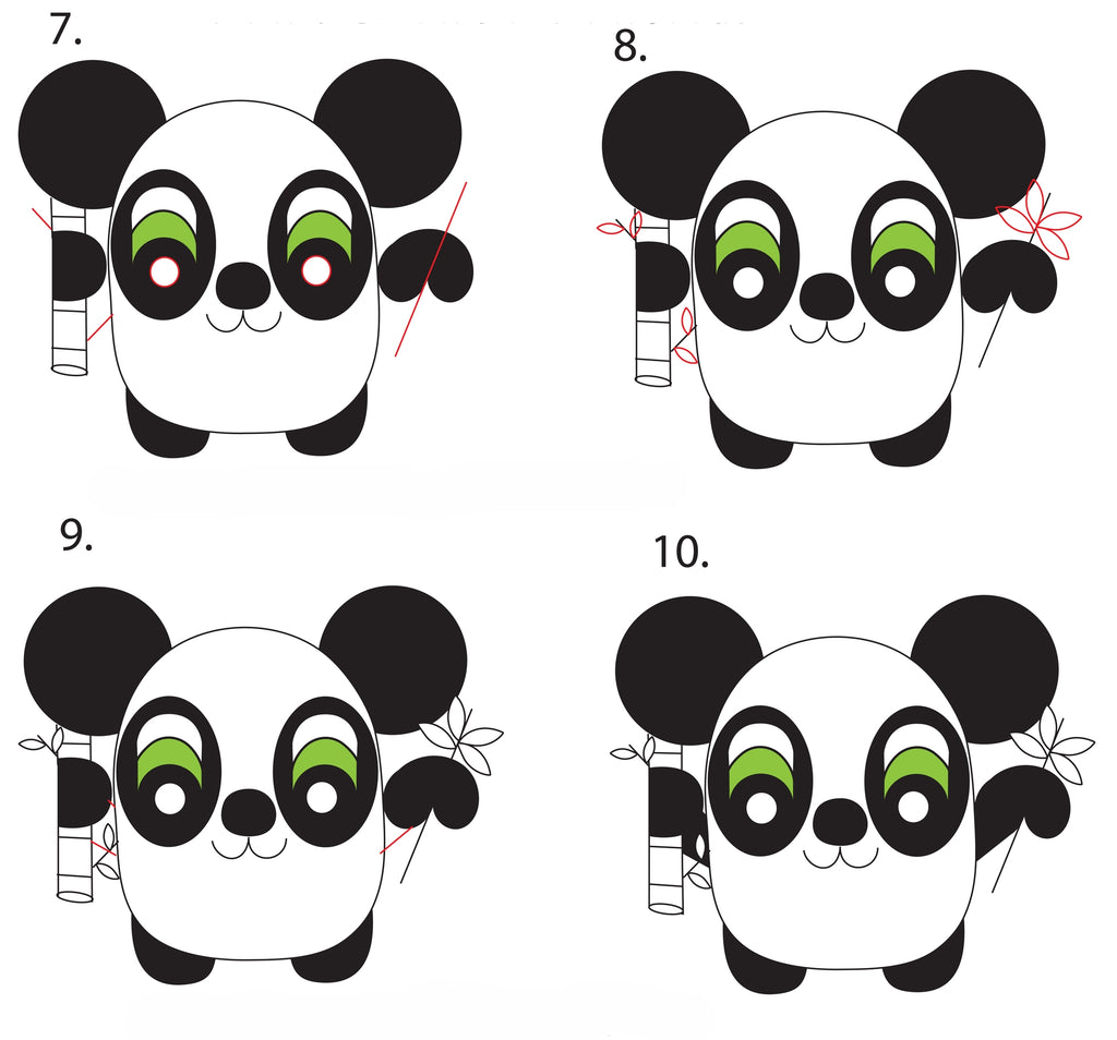 PANDA KAWAII DRAWING STEP 2