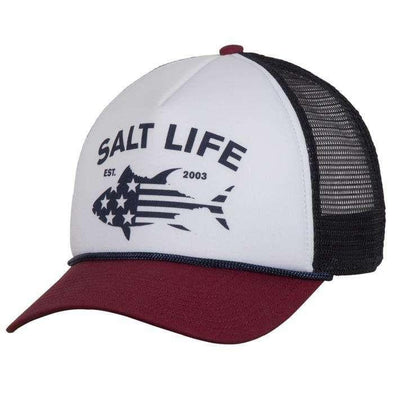 Headwear Salt Life Men's Red White Blufin Trucker Mesh Cap - Shop The DocksSalt Life Headwear