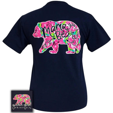 Apparel Girlie Girl Mama Bear Floral Short Sleeve Navy Blue Tee Shirt - Shop The DocksGirlie Girl Originals Apparel