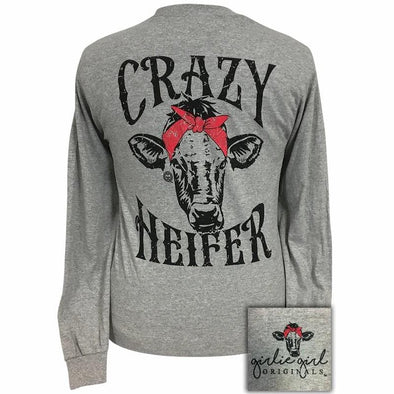 Apparel Girlie Girl Crazy Heifer Long Sleeve Sport Grey Shirt - Shop The DocksGirlie Girl Originals Apparel