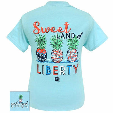 Apparel Girlie Girl Liberty Pineapple Short Sleeve Sky Blue Tee Shirt - Shop The DocksGirlie Girl Originals Apparel