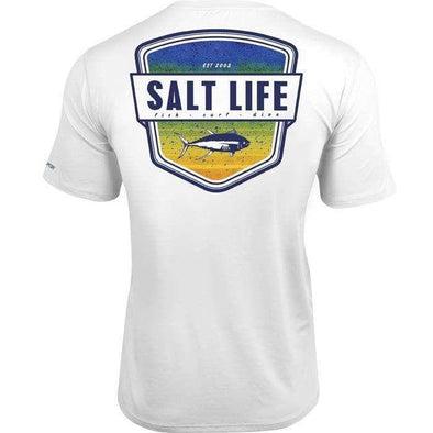 Apparel Salt Life Men's Electric Skinz Badge Short Sleeve SLX Performance Shirt - Shop The DocksSalt Life Apparel
