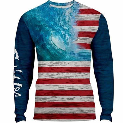Apparel Salt Life Men's Ameriseas Long Sleeve Performance Shirt - Shop The DocksSalt Life Apparel