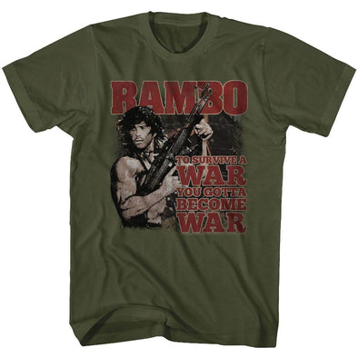 American Classics Rambo Become War Military Green Tee Shirt