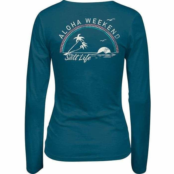 Apparel Salt Life Women's Aloha Weekend Palms Fitted V Neck Long Sleeve Shirt - Shop The DocksSalt Life Apparel