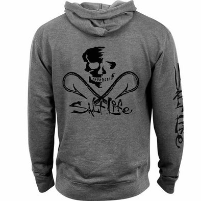 Salt Life Men's Salt Life Skull and Hooks Graphite Hoodie.
