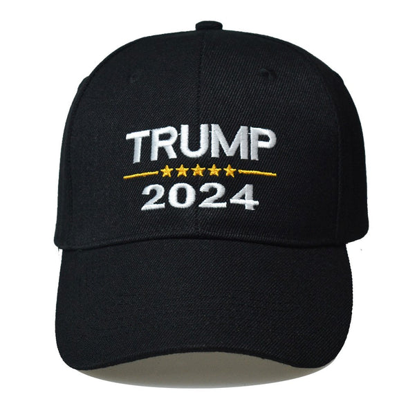 Trump 2024 With Stars Embroidered Cap Black.