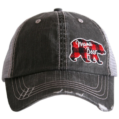 Katydid Women's Mama Bear Red Plaid Side Patch Gray Cap.