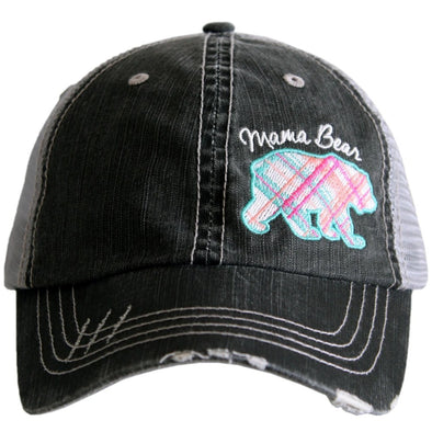 Katydid Women's Mama Bear Pastel Plaid Gray Cap.