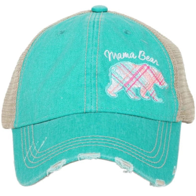 Katydid Women's Mama Bear Pastel Plaid Teal Cap.