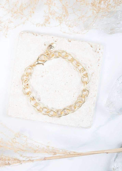 Jewelry Amanda Blu Chain Medallion Bracelet - Matte Gold - Shop The DocksAmanda Blu Jewelry
