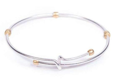 Jewelry Amanda Blu 2 Tone Adjustable Medallion Bangle Bracelet - Silver with Gold - Shop The DocksAmanda Blu Jewelry