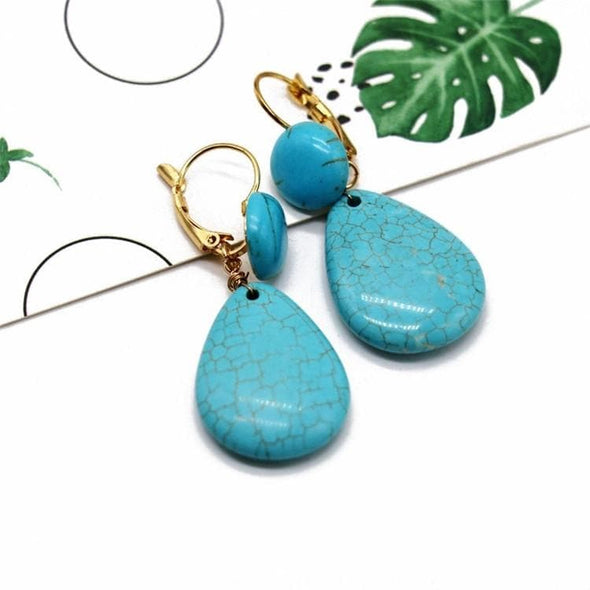 Jewelry Gold Plated Leverback Earrings With Dangle Imitation Turquoise Teardrop - Shop The DocksEarrings Under $20 Jewelry