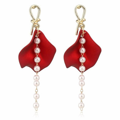 Trendy Red Petal With Dangle Imitation Pearl Post Earrings - Shop The Docks