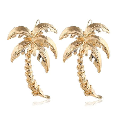 Beautiful Gold Plated Fine Detail Palm Tree Fish Hook Earrings - Shop The Docks
