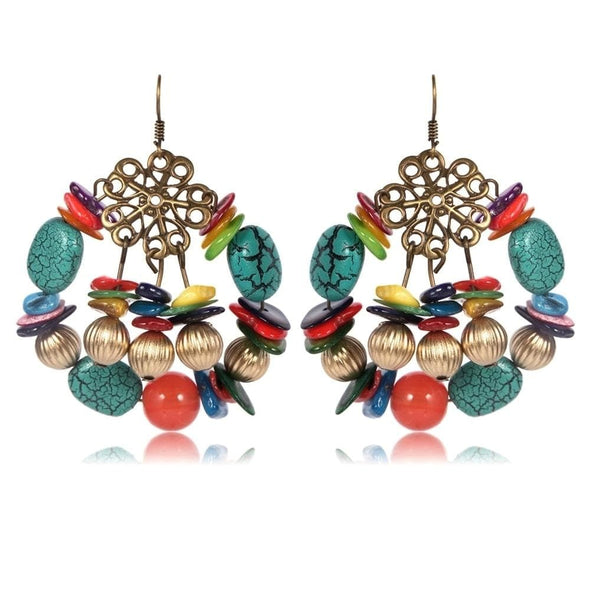 Jewelry Colorful Agate Natural Stone Bronze Hook Earrings Multi-Color Earrings - Shop The DocksEarrings Under $10 Jewelry
