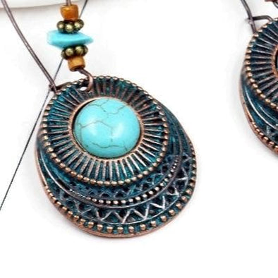 Vintage Turquoise Look Bohemian Round Drop Earrings - Shop The Docks