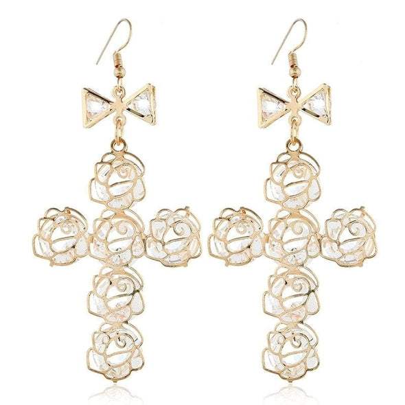 Jewelry Big Gold Plated Lightweight Wire Bow Cross Crystal Fish Hook Earrings - Shop The DocksEarrings Under $10 Jewelry