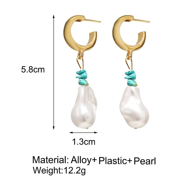 Jewelry Gold Plated Hoop Earrings With Imitation Turquoise And Irregular Pearl - Shop The DocksEarrings Under $10 Jewelry