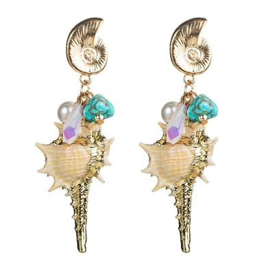 Gold Plated Conch Shell Drop Earrings - Shop The Docks
