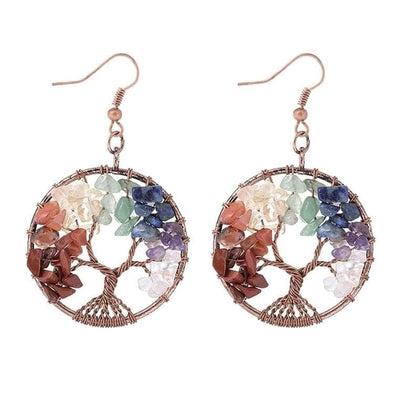 Colorful Crystal Natural Stone Tree Of Life Drop Earrings - Shop The Docks