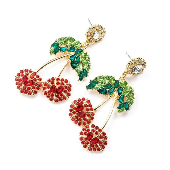 Jewelry Rhinestone Red Cherry Drop Earrings With Green Crystal Leaf - Shop The DocksEarrings Under $20 Jewelry