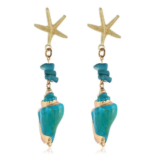 Jewelry Turquoise & Gold Colored Conch Shell Starfish Dangle Earrings - Shop The DocksEarrings Under $10 Jewelry