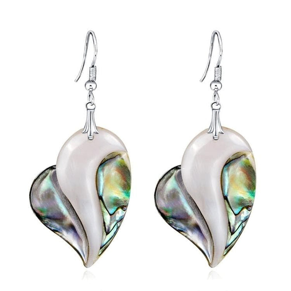 Genuine Abalone Shell Heart Shape Dangle Earrings - Shop The Docks