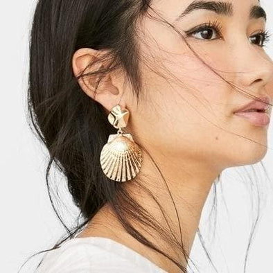 Jewelry Gold Plated Metal Shell Dangle Post Earrings - Shop The DocksEarrings Under $10 Jewelry