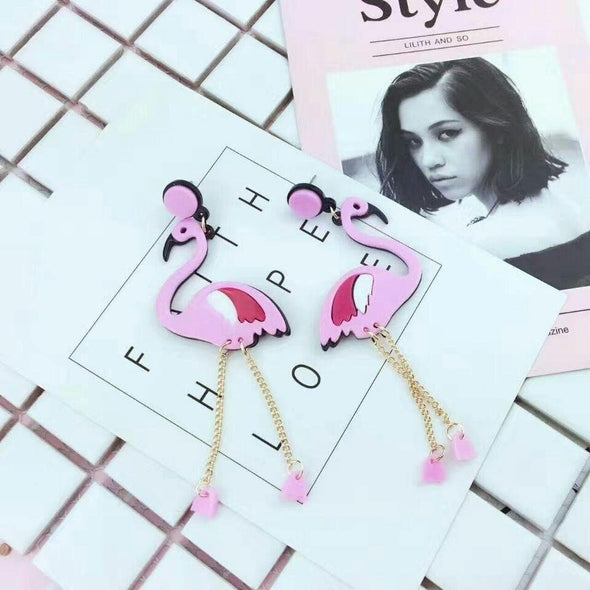 Jewelry Pink Flamingo Dangle Earrings With Long Chain - Shop The DocksEarrings Under $10 Jewelry