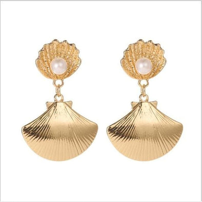 Jewelry Metal Imitation Pearl Shell Pendant Earrings - Shop The DocksEarrings Under $10 Jewelry