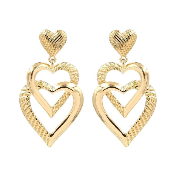 Jewelry Gold Plated Double Heart Dangle Post Earrings - Shop The DocksEarrings Under $10 Jewelry
