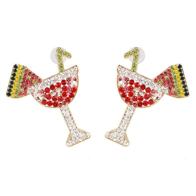 Jewelry Crystal Cocktail Wine Glass Colorful Rhinestone Post Earrings - Shop The DocksEarrings Under $20 Jewelry