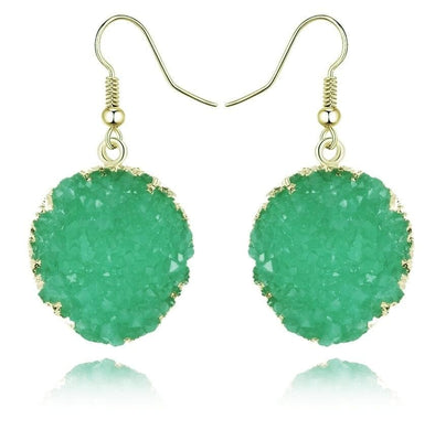 Round Circle Green Druzy Stone Hook Earrings - Shop The Docks