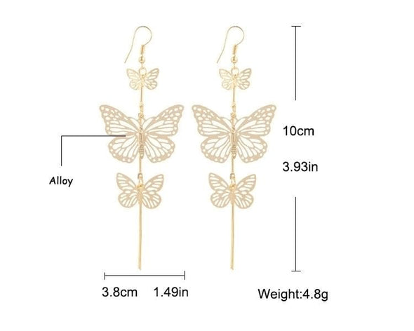 Jewelry Plated Silver Hollow Butterfly Long Dangle Earrings - Shop The DocksEarrings Under $10 Jewelry