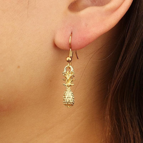 Jewelry Metal Solid 3D Pineapple Fruit Drop Earring Gold - Shop The DocksEarrings Under $10 Jewelry