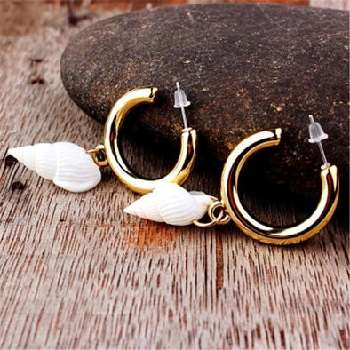 Jewelry Hoop Conch Sea Shell Earrings Gold - Shop The DocksEarrings Under $10 Jewelry