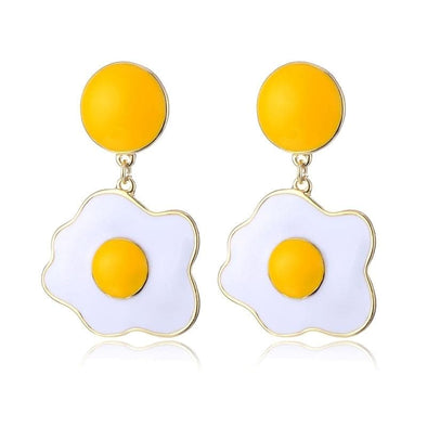 Jewelry White Yellow Color Egg Enamel Post Earrings - Shop The DocksShop The Docks Jewelry