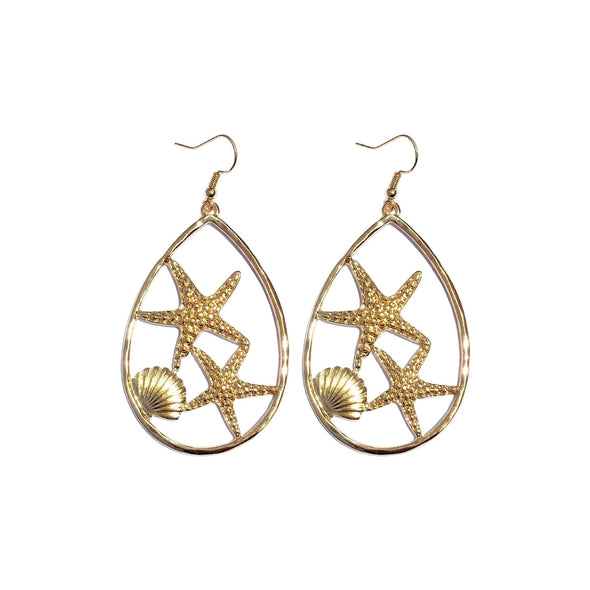 Jewelry Oval Metal Gold Plated Starfish Shell Hook Earrings - Shop The DocksEarrings Under $10 Jewelry