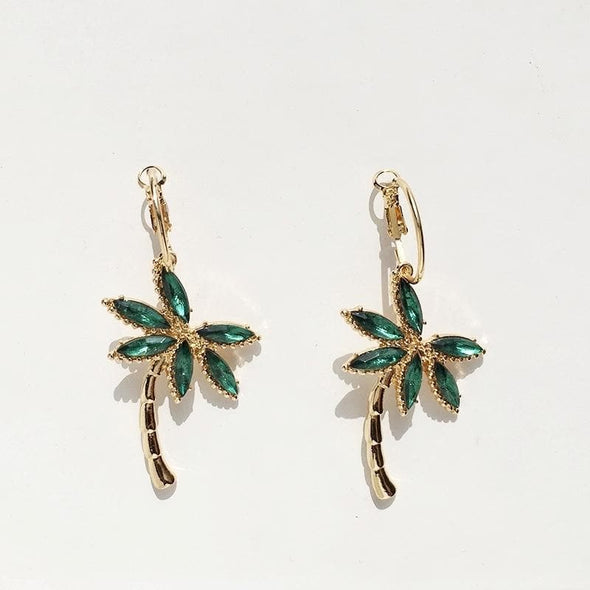 Jewelry Gold Plated Tropical Coconut Palm Tree Earrings With Green Rhinestones - Shop The DocksEarrings Under $10 Jewelry