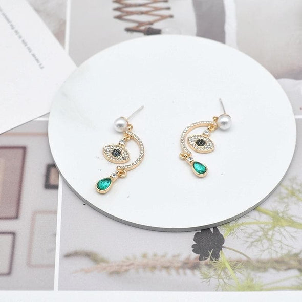 Jewelry Green Crystal Rhinestone Evil Eye Post Dangle Earrings - Shop The DocksEarrings Under $10 Jewelry