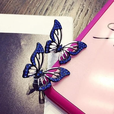 Jewelry Blue & Pink Butterfly Rhinestone Post Earrings - Shop The DocksEarrings Under $10 Jewelry