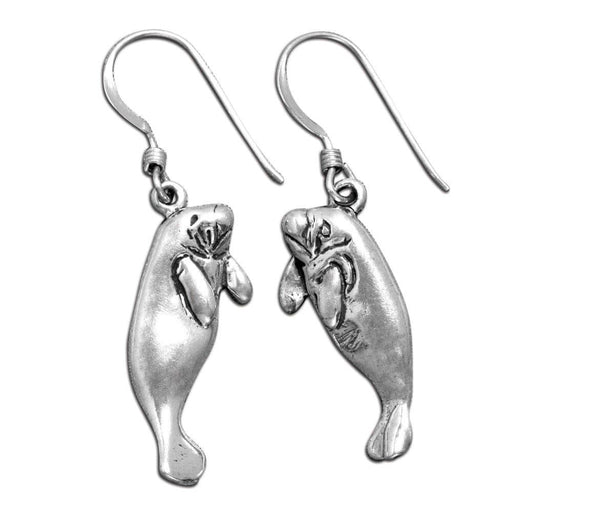 Jewelry Sterling Silver Happy Manatee Hook Dangle Earrings - Shop The DocksMona Ann Designs Jewelry