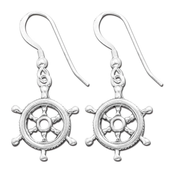 Jewelry Sterling Silver Ship Wheel Hook Dangle Earrings - Shop The DocksMona Ann Designs Jewelry