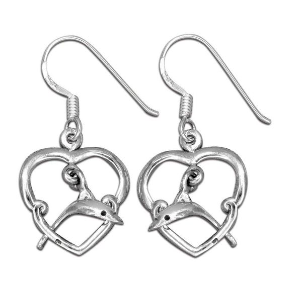 Jewelry Sterling Silver Dolphin Jumping Through Heart Dangle Earrings - Shop The DocksMona Ann Designs Jewelry