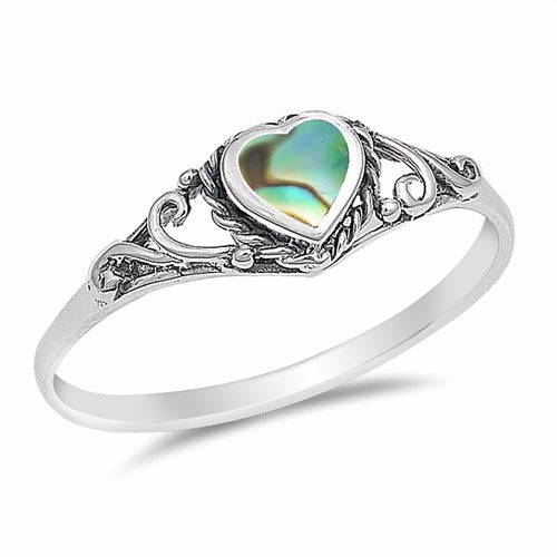 Women's .925 Sterling Silver Dainty Abalone Heart Ring.