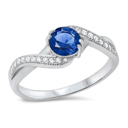 Women's .925 Sterling Silver Round Blue CZ Ring.
